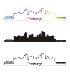 Pittsburgh skyline linear style with rainbow vector