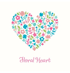 Decorative floral heart doodle for design greeting vector