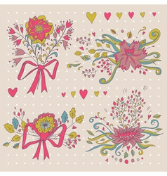 Hand drawn flower bouquet set retro flowers in vector