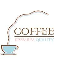 Coffee logo premium quality retro design vector