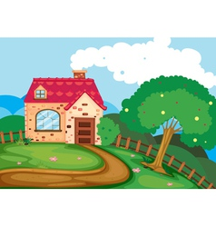 A house in nature vector