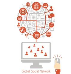Computer monitor with social network icons vector