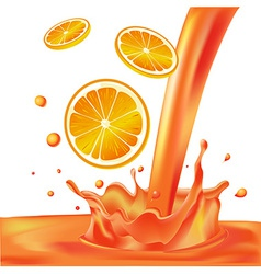 Orange splash of liquid with pieces of fruit - vector