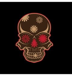 Day of the dead skull with flowers dia de los vector