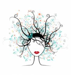 Girl face floral hairstyle vector