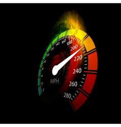 Speedometer with speed fire path vector