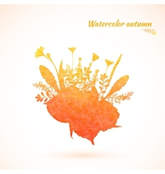 Autumn watercolor painted vector