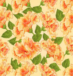 Seamless texture yellow hibiscus tropical flowers vector