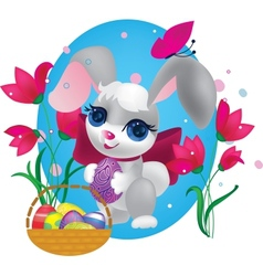 Cute bunny with decorative egg vector