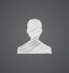 Male profile sketch logo doodle icon vector