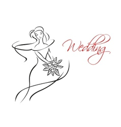 Outline silhouette of bride with flowers vector