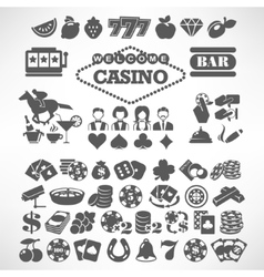 The biggest set of flat casino or gambling icons vector