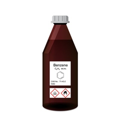 Bottle with chemical toxic and flammable solvent - vector