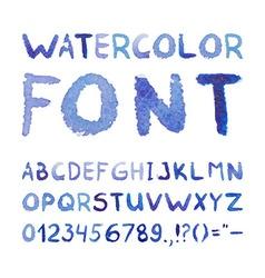 Watercolor hand drawn blue font vector