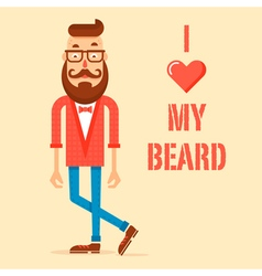 Hipster guy with the modern beard vector