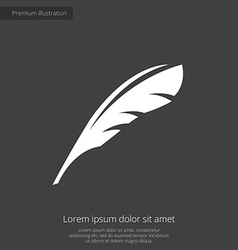 Feather premium icon white on dark background vector