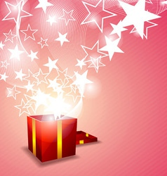 Gift box and star floating vector