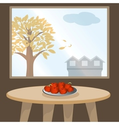 Apples on table by window vector