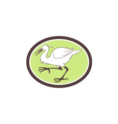 Egret heron crane walking cartoon vector