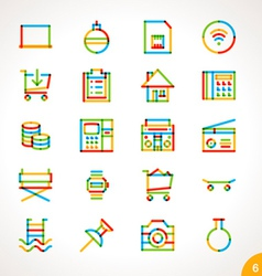 Highlighter line icons set 6 vector