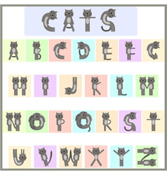 Cat alphabet vector