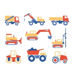 Various trucks and construction machinery graphics vector