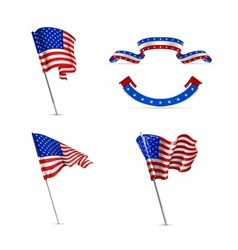 American flags set vector