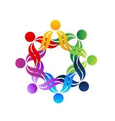 Teamwork hug people logo vector