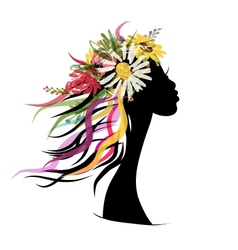 Female portrait with floral hairstyle for your vector