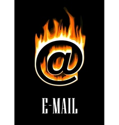 E-mail icon going up in flames vector
