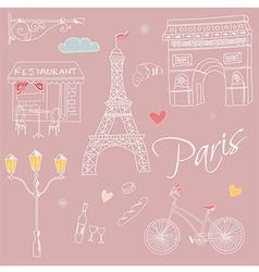 Paris symbols postcard hand drawn vector