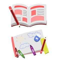 Opened book cartoon clip art vector