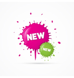 Pink and green stickers - stains with new title vector