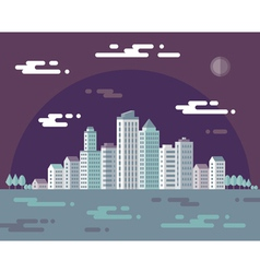 Night cityscape - flat vector