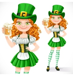 Beautiful girl leprechaun offers a beer isolated vector