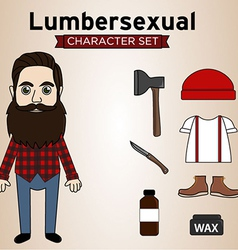 Lumbersexual man vector
