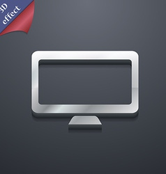 Computer widescreen monitor icon symbol 3d style vector