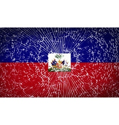 Flags haiti with broken glass texture vector