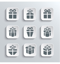 Gift box web icons set holiday presents vector