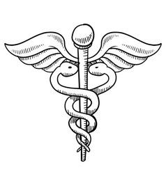 Doodle caduceus medical symbol vector