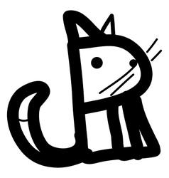 Cat simple line art vector