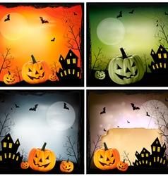 Four halloween backgrounds vector