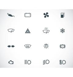 Balck car dashboard icons set vector