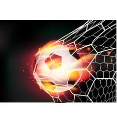 Soccer ball in goal net on fire flames vector
