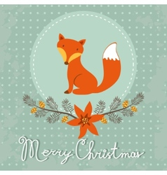 Elegant merry christmas card with cute fox vector