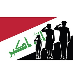 Iraq soldier family salute vector