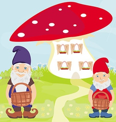 Funny cartoon mushroom house and two funny gnomes vector