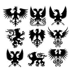 Griffin and eagle set vector