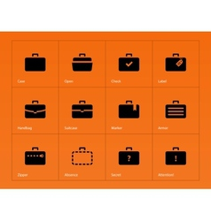 Case icons traveling bags and luggage vector
