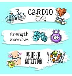 Fitness sketch banner set vector